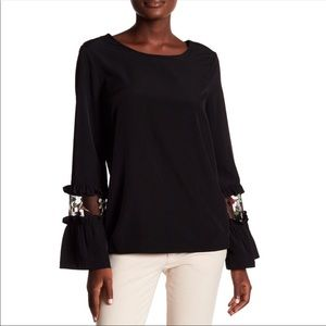 Anthropologie Pleione Black Top With Embroidery